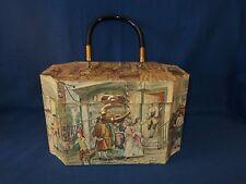 Vintage Wooden Decoupage Box Purse Anton Pieck Colonial Print Lucite Handle