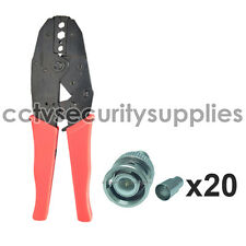 New Ratchet Crimper Pliers Tool Crimping Cable + 20 BNC Crimp On Male RG59 Coax