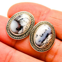 "Dendritic Opal 925 Sterling Silver Earrings 3/4"" Ana Co Jewelry E409893F"