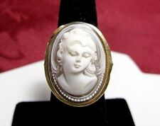 VINTAGE VICTORIAN 18K YELLOW GOLD CAMEO WOMAN FRONT FACE RING SIZE 7.5