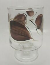 """Footed Stem LARGE GLASS Cup Trifle Bowl Brown Gold Leaves MCM 6"""""""