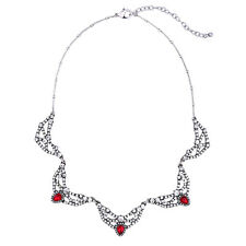 Modern Masino Collection Kiraz Penta Loop Red Gem Rhinestone Necklace