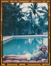 Palm Beach Pool Lounger by Slim Aarons in a Chic Gilt Bamboo Frame