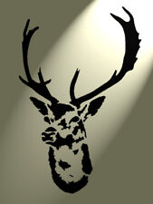 Shabby Chic Stencil Stag deer head Vintage A4 size wall art plastic Design 8