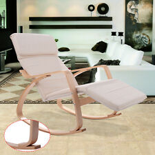 Off White Rocking Lounge Chair Recliner W/Adjustable Footrest &Headrest Pillow