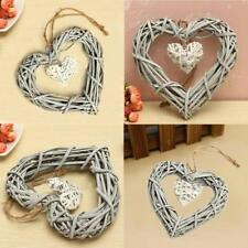 Wicker Heart Wreath Valentines Day Decoration Wedding Wall Hanging Party Chic