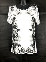PHILOSOPHY Women's Floral Black White Short Sleeve Casual Top Size 12