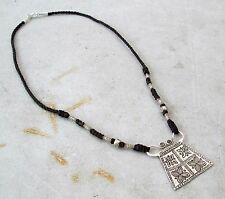 POSITIVE ENERGY! Hmong Hill Tribe 925 Silver & Hemp Spirit Lock Amulet Necklace