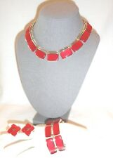 Vtg Lisner Thermoset Necklace Bracelet Clip Earring Parure Red
