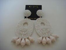 Kenneth Jay Lane Seed bead Gypsy White Oval Drop Earrings Post New Sold out
