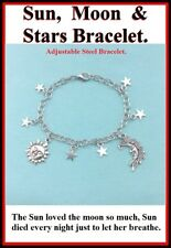 Celestial Theme: Sun, Moon & Stars Adjustable Steel Charm Bracelet.