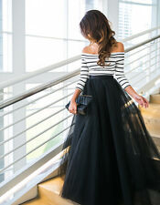 Stylish Women  Tulle Lace Long Maxi Skirt Pleated Dress High Waist Tulle Tutu