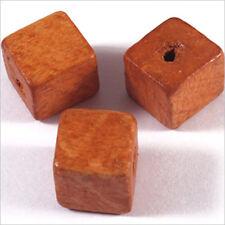 20 Perles Cubes en Bois 12mm Rouge Orangé