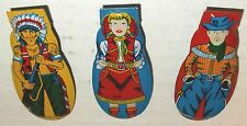 "60s Japan 3 TIN LITHO 2.5"" CLICKER western set COWBOY INDIAN COWGIRL cricket NOS"