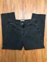 Lee Relaxed Waist Straight Leg Mid Rise Denim Jeans Women's Size 12 Short Black