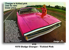 1970 DODGE CHARGER R/T POSTER PRINT 24x36 TICKLED PANTHER PINK HEMI AD MOPAR 440