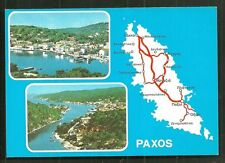 Map postcard Paxos Paxi Ionian Islands Greece