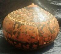 Vintage Etched Highly Detailed Painted Gourd Rattle Southwest Folk Art