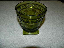 Vintage Indiana Glass Park Lane green footed sherbet goblet 4 ¼ tall