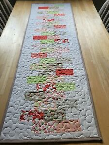 Handmade quilted table runner multicolored patchwork design