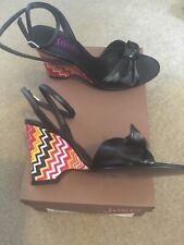 LADIES JONES BLACK LEATHER ANKLE STRAP WEDGES WITH MULTICOLOUR HEEL SIZE 36