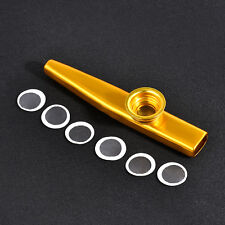 Golden Metal Kazoo + 6PCS Kazoo Flute Diaphragm Mouth Flute Harmonica Kids Party