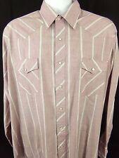 Wrangler Western Cowboy Cut Shirt XL 17-35 Purple Striped Pearl Snap