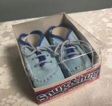Vintage NEW Gold Bug Baby Newborn Booties Dress Shoe Boy Blue Adorable Snug Hug