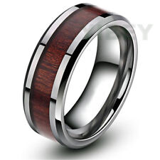 8mm Men's Jewelry Tungsten Carbide Wood Inlay Beveled Koa edge Wedding Band Ring