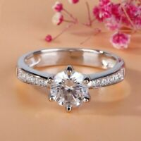 2.00 ct Round Cut VVS1/D Diamond Engagement Ring Sterling Silver
