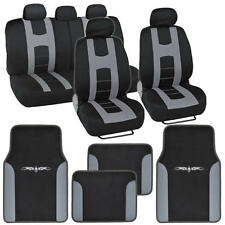Complete Set Car Seat Covers and 2 Tone Vinyl Mats Black / Gray Front and Rear