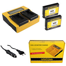 2x Batteria Patona + caricabatteria rapido DUAL LCD per GoPro HD HELMET HERO
