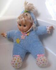 """Vtg 1990's Baby Blonde Girl 14"""" Doll Blue Star Romper Sleepy Eyes Soft Lovee Toy"""