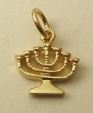 GENUINE SOLID 9K  9ct Yellow GOLD HANUKKAH MENORAH CANDLE HEBREW CHARM/PENDANT