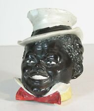 1890s Black Americana Figural Tobacco Jar In Form Of African American Mans Head