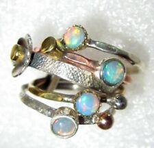 RARITÄT Ring Natur Opal ECHTER NATUR Kristallopal Gr16,5 925 Silber gold 5 Ringe