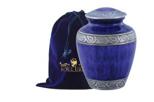 SOULURNS® -Marble Blue Funeral Cremation Urn for Human Ashes