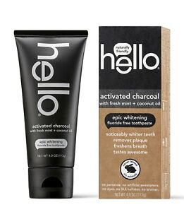 HELLO ORAL ACTIVATED CHARCOAL Teeth Whitening Toothpaste Fluoride Free Vegan NEW