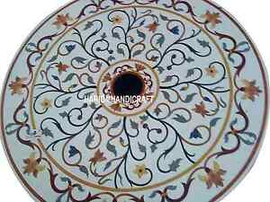 """30"""" White Marble Marquetry Top Coffee Table Inlay Italian Arts Patio Decor H3074"""