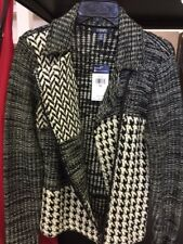 CHAPS Womens Size Large Black and White  Side Zip Sweater NWT MSRP $99.00