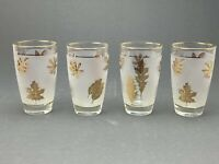 Set Of 4 Vintage Gold Foliage Leaf Mid Century Drinking Glasses Tumblers (Fall)