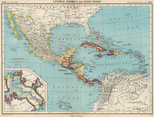 CARIBBEAN/CENTRAL AMERICA. Inset Panama Canal Zone. BARTHOLOMEW 1952 old map