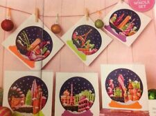 (X6) City Travel Scenes Snow Globe Cards Christmas Cross Stitch Chart