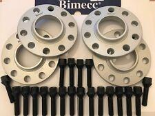 ALLOY WHEEL SPACERS BIMECC 10mm SILVER X 4 + M14X1.25 BLACK BOLTS FOR BMW 66.6