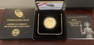 2015 W American Liberty High Relief $100 .999 GOLD Coin Raw W/ Box & COA