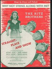 Why Not String Along With Me Straight Place & Show Ethel Merman Sheet Music