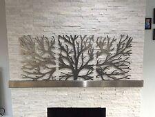 Metal Escultura De Arte para Decoración de pared 3D 3 pieza de acero moderno Árbol brunch Colgante