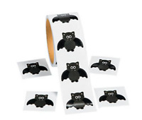 Roll of 100 - Halloween Bat Stickers - Loot Party Bag Fillers