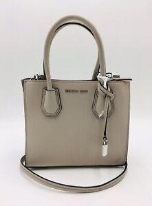 Michael Kors Pearl Gray Mercer Medium Pebble Leather Crossbody Bag, MSRP $278