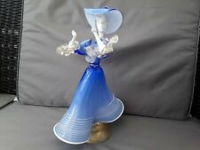 VINTAGE MURANO GLASS DANCING LADY.  BLUE & WHITE WITH GOLD DECORATION 11.75""